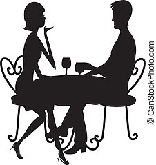 Couple Silhouette - A couple in silhouette sitting at a ...