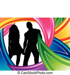 couple, silhouette, coloré