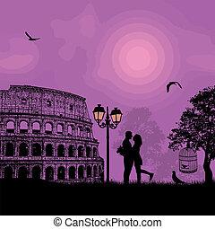 Couple silhouette Colosseum in Rome