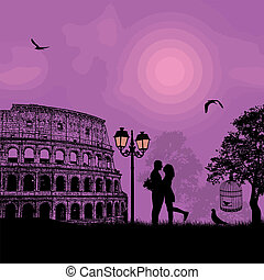 Couple silhouette Colosseum in Rome