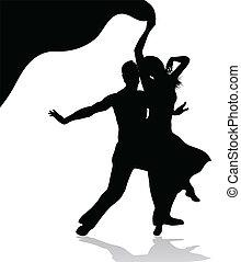 couple, silhouette, danse