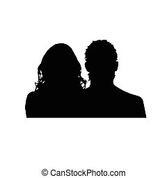 couple silhouette illustration in black
