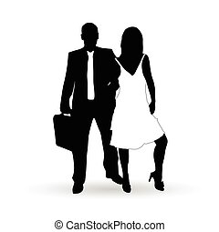 couple silhouette in black and white color illustration