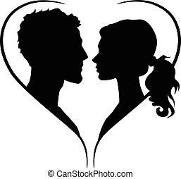 Couple silhouette in heart shape