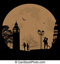 Couple silhouette in London