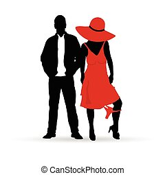 couple silhouette in red color illustration