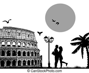 Couple silhouette in Roma