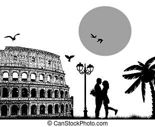 Couple silhouette in Roma