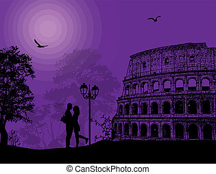 Couple silhouette in Rome