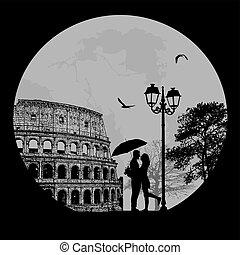 Couple silhouette in Rome , vector illustration