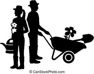 couple, silhouette, jardinier