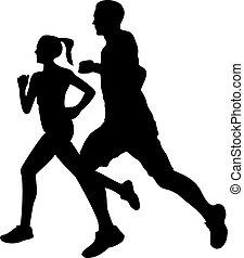 couple, silhouette, jogging