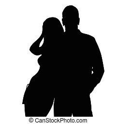 couple silhouette love in black color illustration