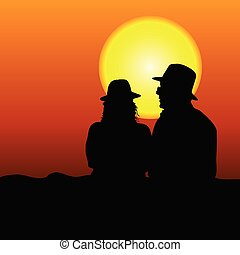 couple silhouette on moonlight vector illustration