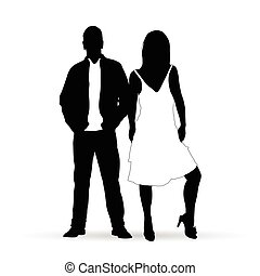 couple silhouette people in black and white illustration