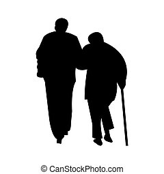 couple, silhouette, personnes agées, promenade