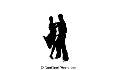 Couple silhouette professional dancing jive on white background. Slow motion