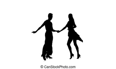 Couple silhouette professional dancing latino on white background. Slow motion