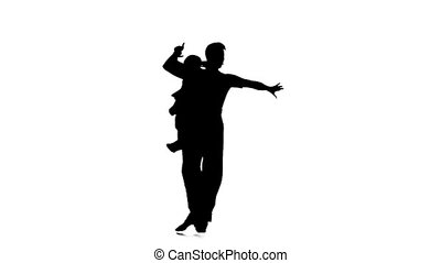 Couple silhouette professional dancing modern on white background. Slow motion