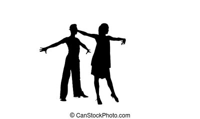 Couple silhouette professional dancing samba on white background. Slow motion