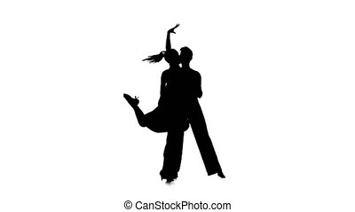 Couple silhouette professional dancing salsa on white...