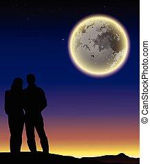 couple, silhouette, romantique