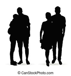 couple silhouette set in black color illustration