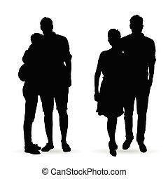couple silhouette set in black color illustration