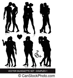 Vector silhouettes of couples, isolated on white background