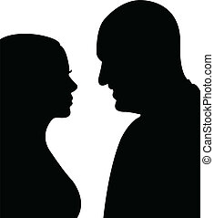 couple silhouette, vector