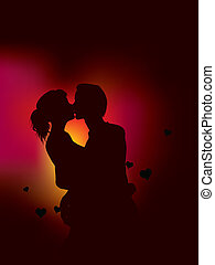 couple silhouette with heart lights