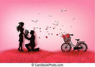 couple silhouette with hearts.