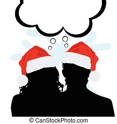 couple silhouette with new year hat in red illustration