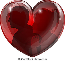Couple silhouettes heart