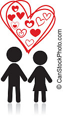 couple silhouettes hearts