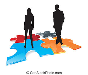 couple silhouettes on puzzle field