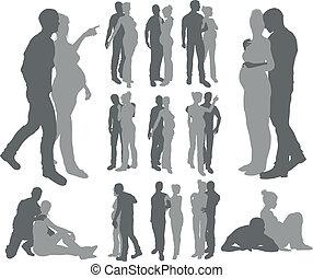 Couple silhouettes pregnant woman