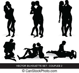 Couple Silhouettes Set - Vector silhouette set of romantic...