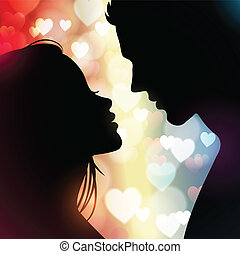 couple silhouettes with glowing hearts