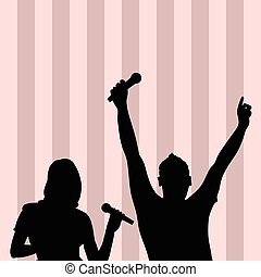 couple singing silhouette illustration on colorful background