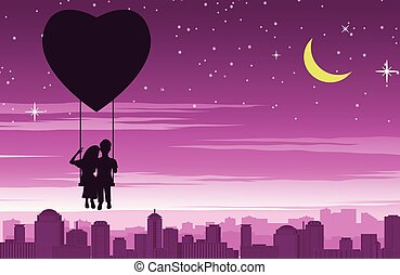 Couple sit on swing that float by heart shape balloon above the city, concept art mean love make people happy like fly in sky