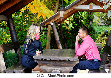 couple sitting at a table