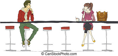 Couple sitting at bar counter - Couple sitting at bar...