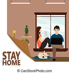 Stay in home poster