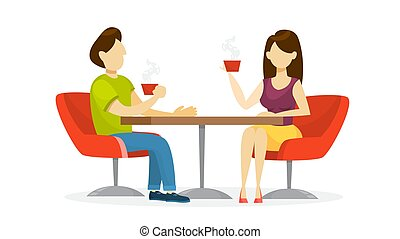 Couple sitting in cafe and drink coffee