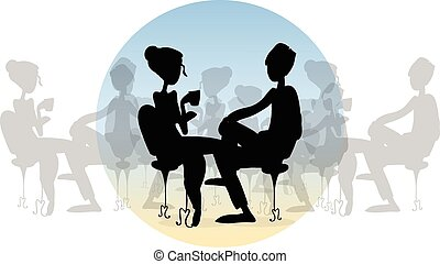 Couple sitting in the cafe