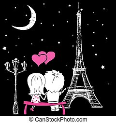 couple sitting on a bench and looking at the Eiffel Tower in the night sky