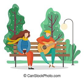 Couple Sitting on Bench in Park, Spring Weather