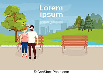 Couple Sitting On Bench In Urban Park Over River Or Lake On City Buildings Template Background
