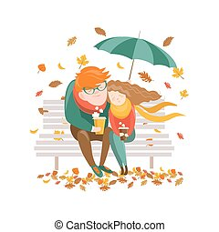 Couple sitting on bench under umbrella